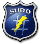 Sudo logo: a shield with a hash sign, a lightning and SUDO written on