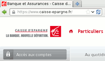 Iceweasel Web browser, with  caisse-epargne.fr  in its address bar