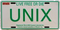 """Licence plate with """"UNIX"""" written, subtitle """"live free or die"""""""