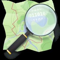 Logo OpenStreetMap: une carte dépliée avec une loupe montrant des 0 et des 1